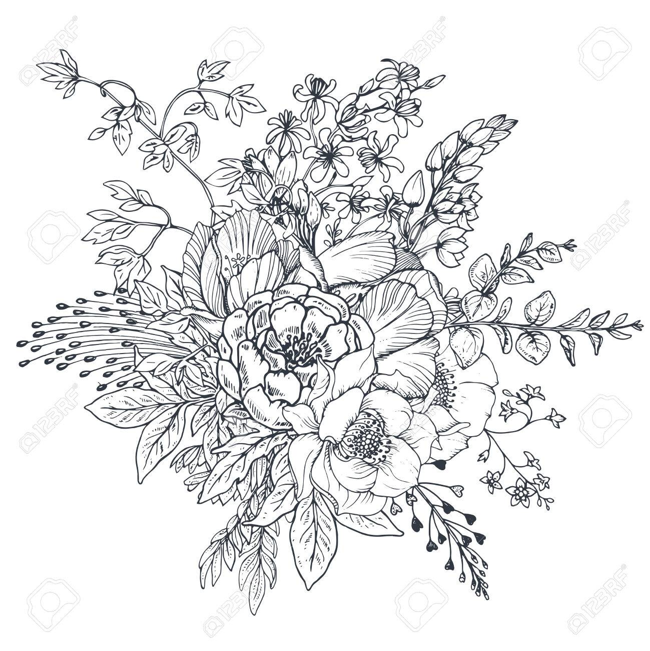 1299x1300 Floral Composition. Bouquet With Hand Drawn Flowers And Plants