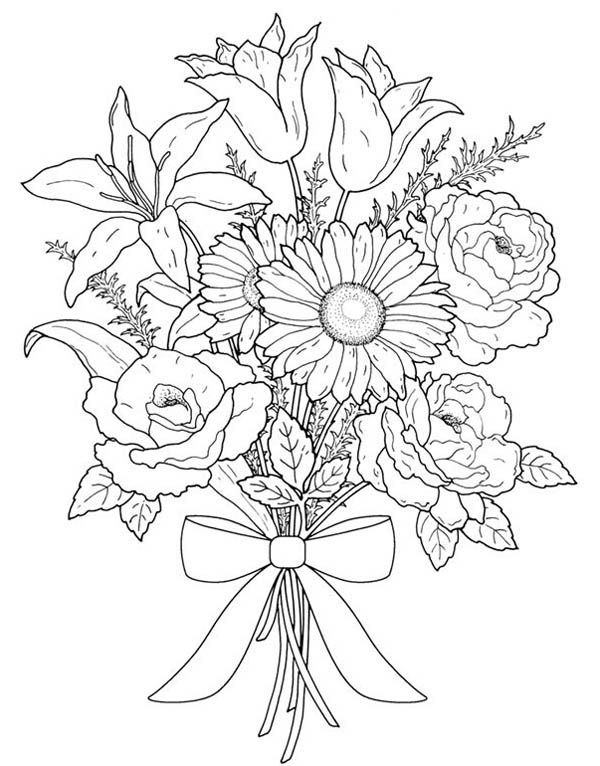 600x766 Flower Bouquet, Flower Bouquet For Valentine Day Coloring Page