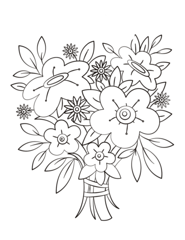 371x480 Flowers Bouquet Coloring Page Free Printable Coloring Pages