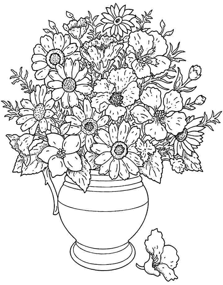 720x920 Realistic Flower Bouquet Drawing