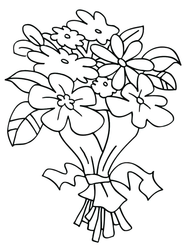 750x1000 Bouquet Of Flowers Coloring Pages Flower Bouquet Coloring Page 1