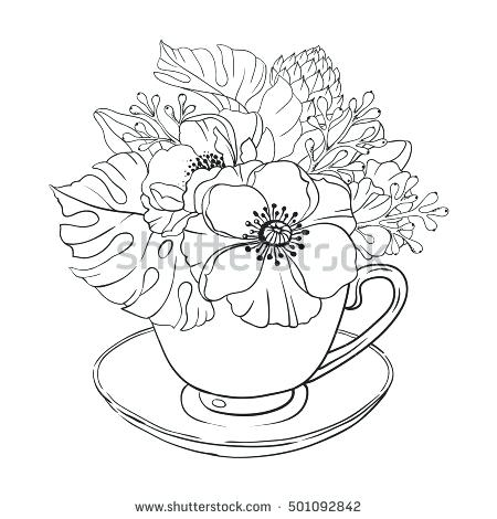 450x470 Bouquet Of Flowers Coloring Pages Free Flower Bouquet Coloring