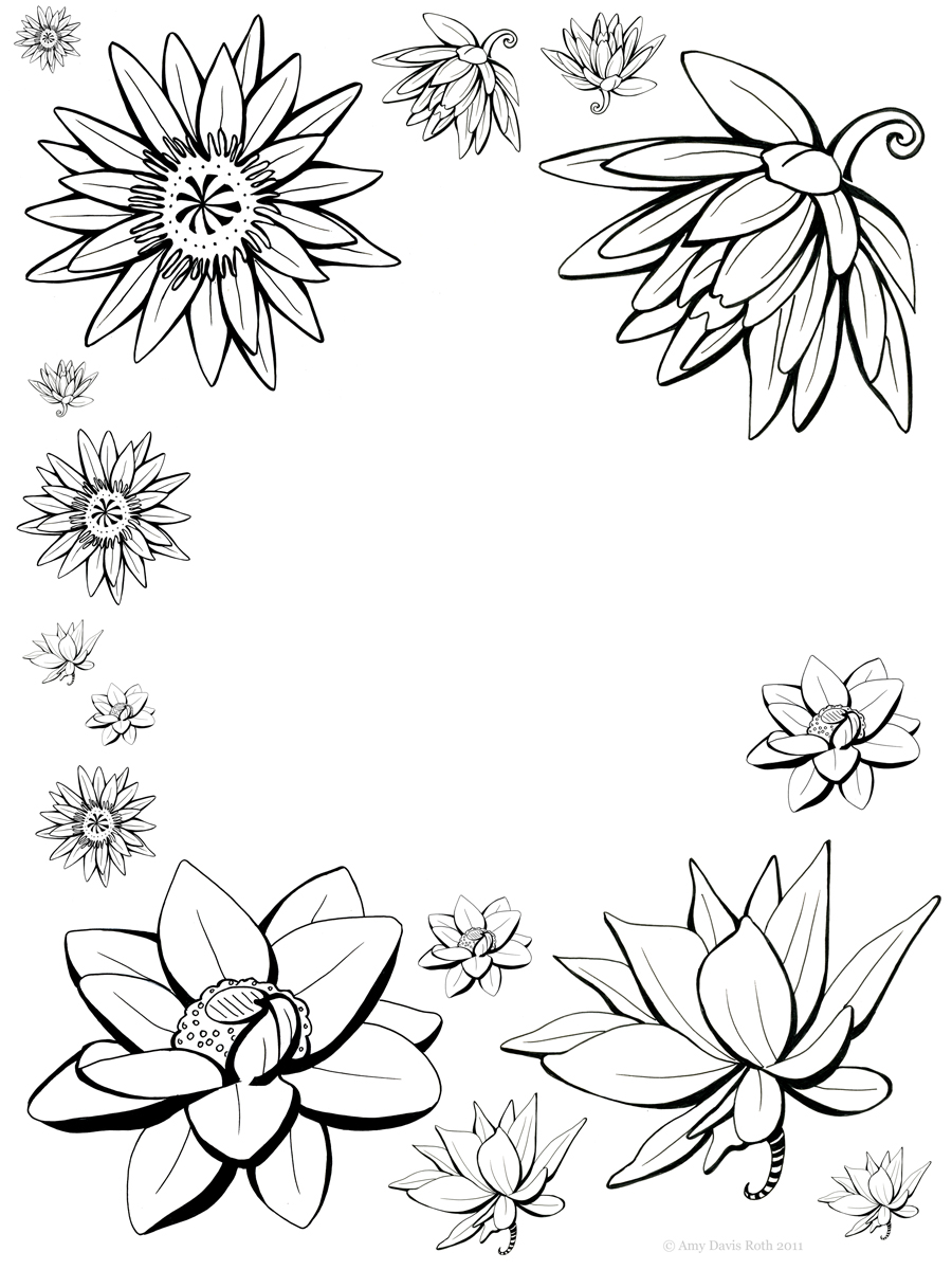 900x1200 Flower Designs Drawings. Drawing Vector Graphics With Floral