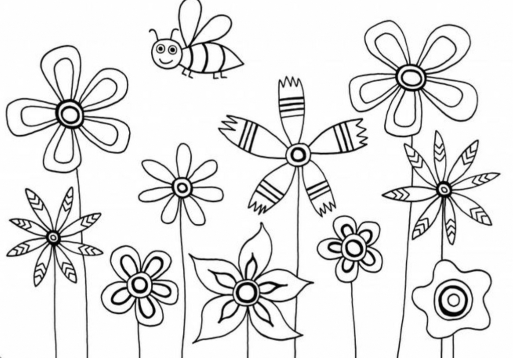 1024x716 Flowers Drawing For Kids Flowers Coloring Pages For Kids Flower