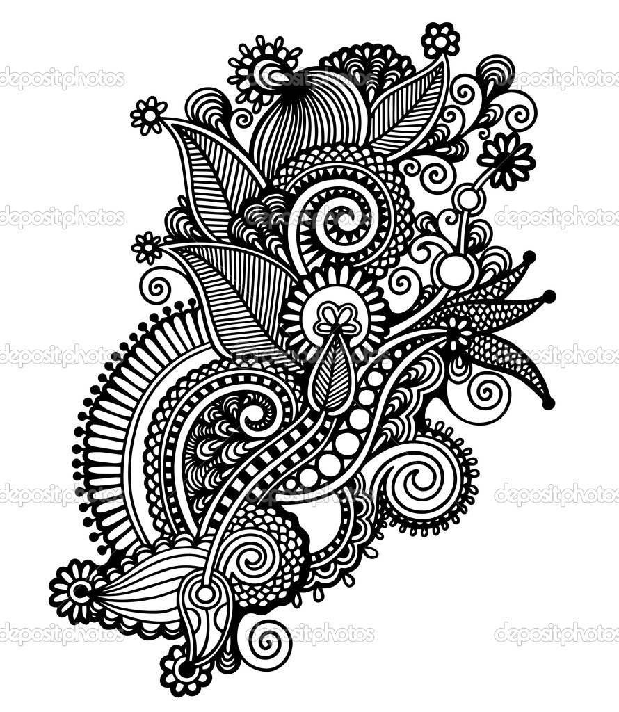Flowers Drawing Black And White