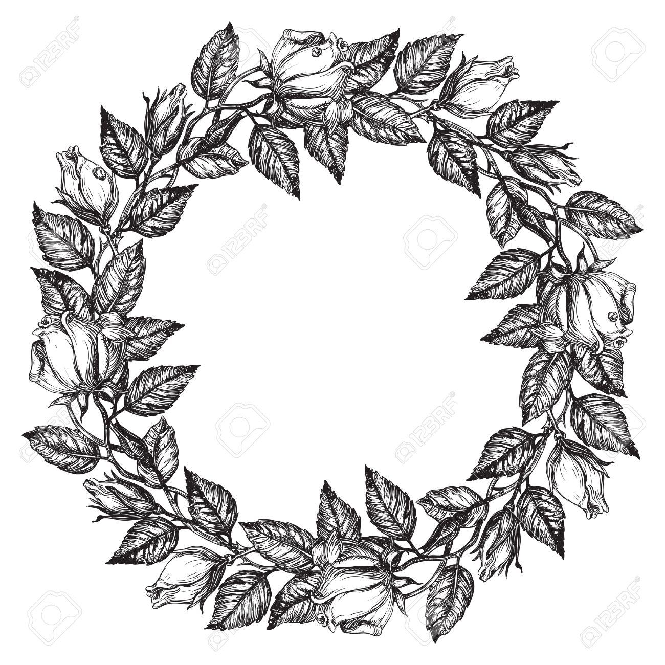 1300x1300 Flowers Drawings With Border Knumathise Rose Clip Art Black