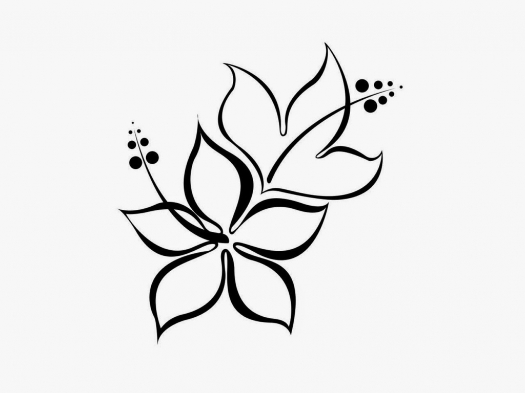 1024x768 Flower Drawing Design In Pencil