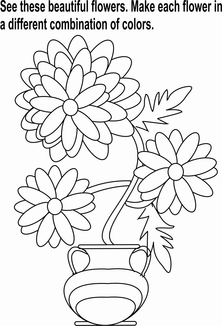750x1100 Flowers Bunch Coloring Page For Kids