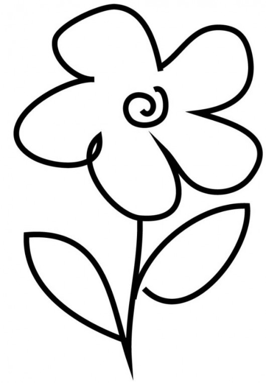 530x763 Simple Flower Coloring Pages
