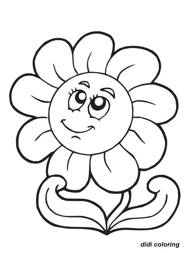 638x825 Printable Smiling Flower Coloring Page For Kids