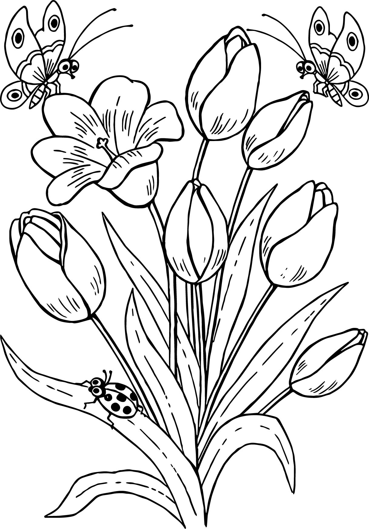 1217x1744 Drawing Butterfly And Flowers Drawing Butterfly Flowers Tulips