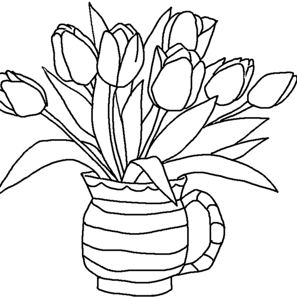 1024x1024 Pencil Sketch Pictures For Kids Flowers Drawing For Kids Free