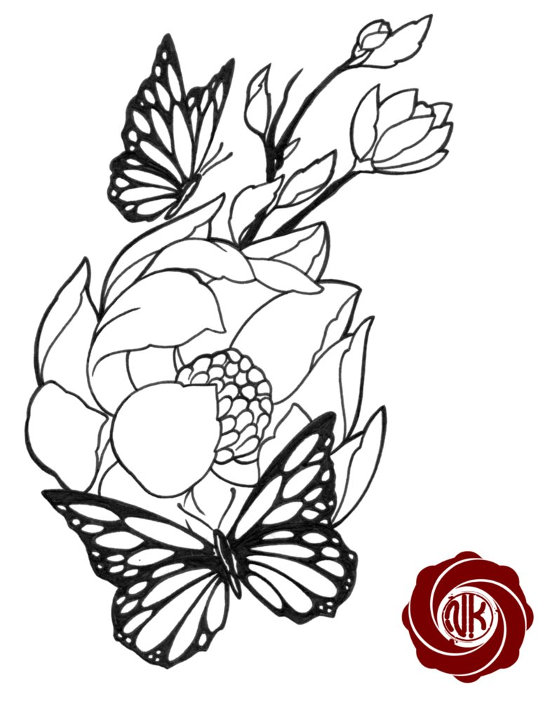 784x1020 And Flowers Drawing