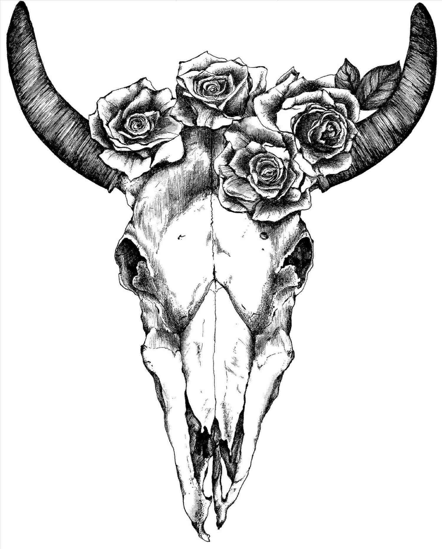 1500x1863 Deer Skull Drawing With Flowers