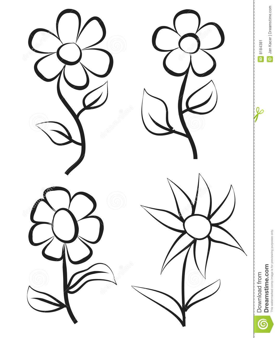 1065x1300 Hand Draw Flowers Stock Image