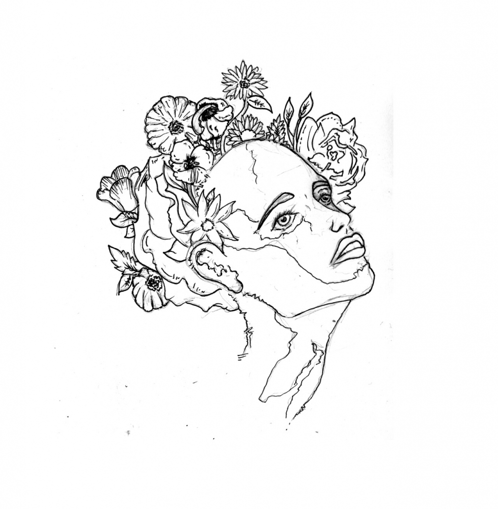 1002x1024 Flower Drawing On Tumblr Flower Line Drawing Tumblr