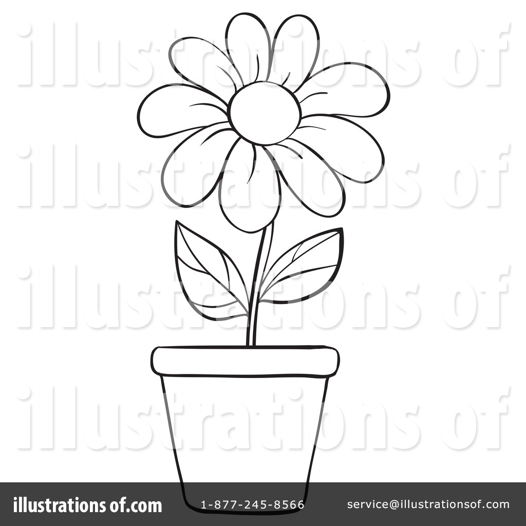 Flower Pot Clipart Black And White Flowers Healthy