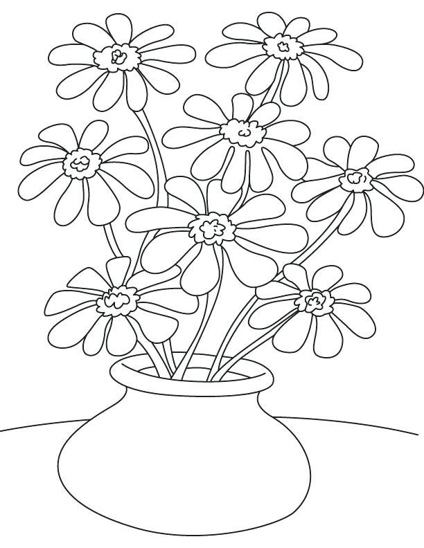 612x792 Flower Pot Coloring Page