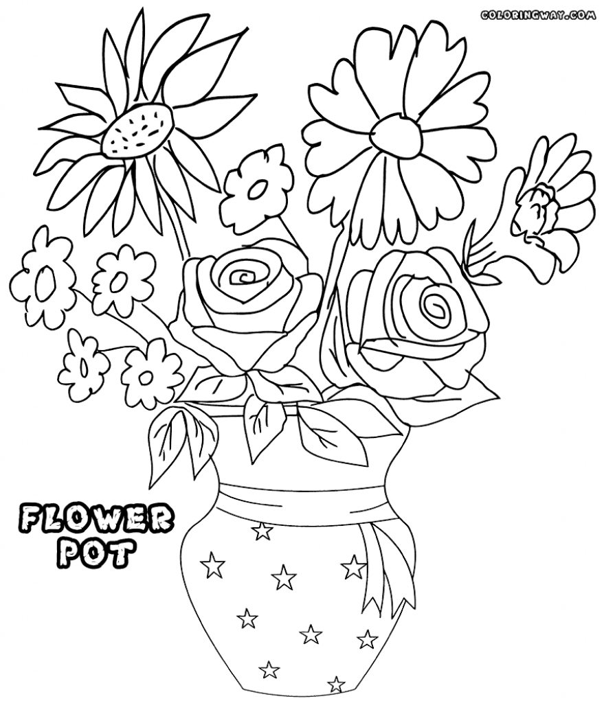 879x1024 Drawing Of Flower Pot