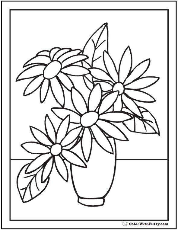 590x762 drawn vase flower coloring page - Coloring Pages Flower