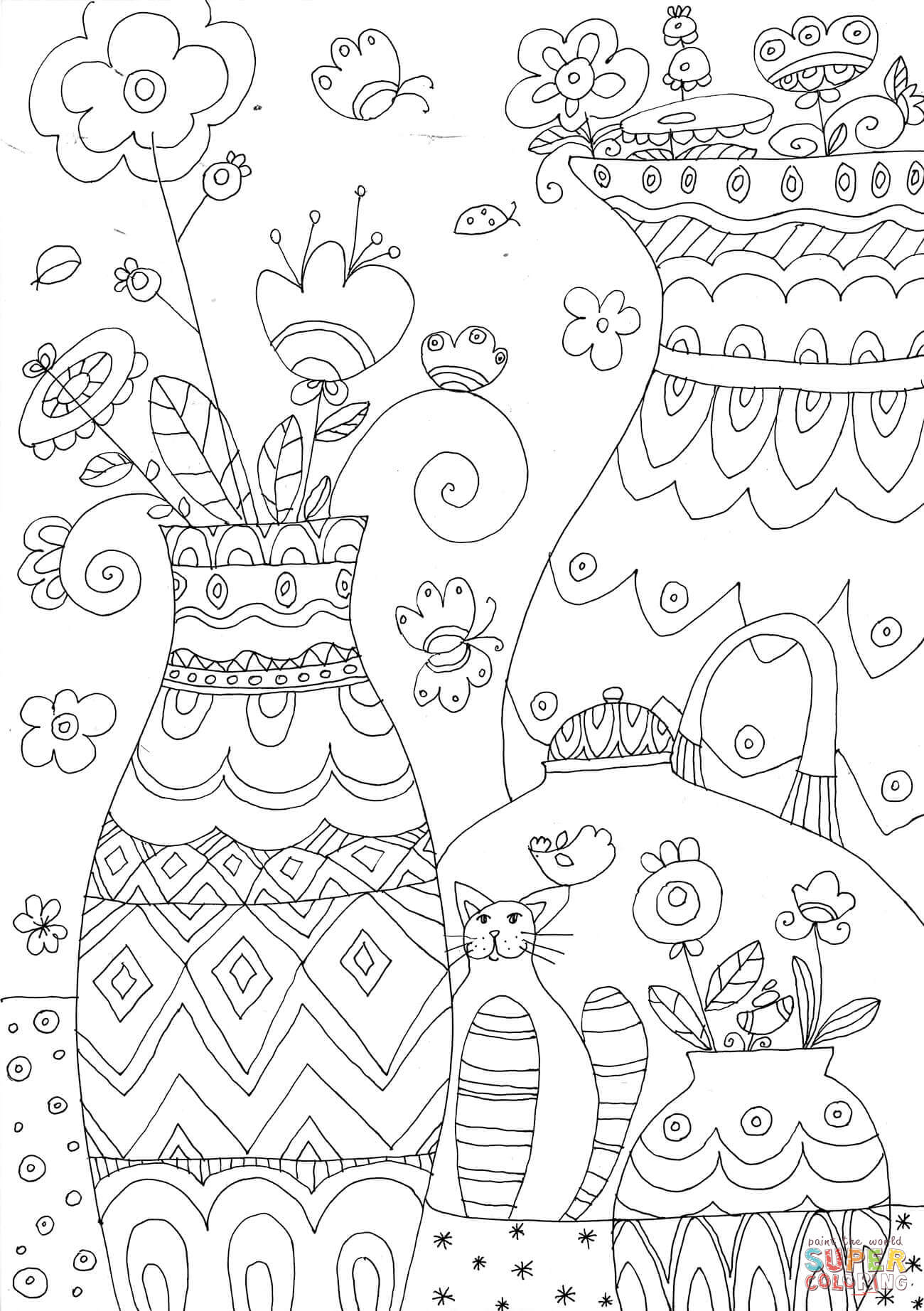 1300x1844 Flower Vases Coloring Page Free Printable Coloring Pages