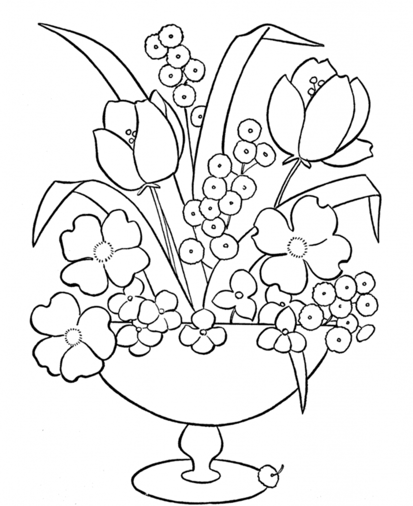 836x1024 Beautiful Flower Vase With Flowers Drawing Pictures Of Flowers