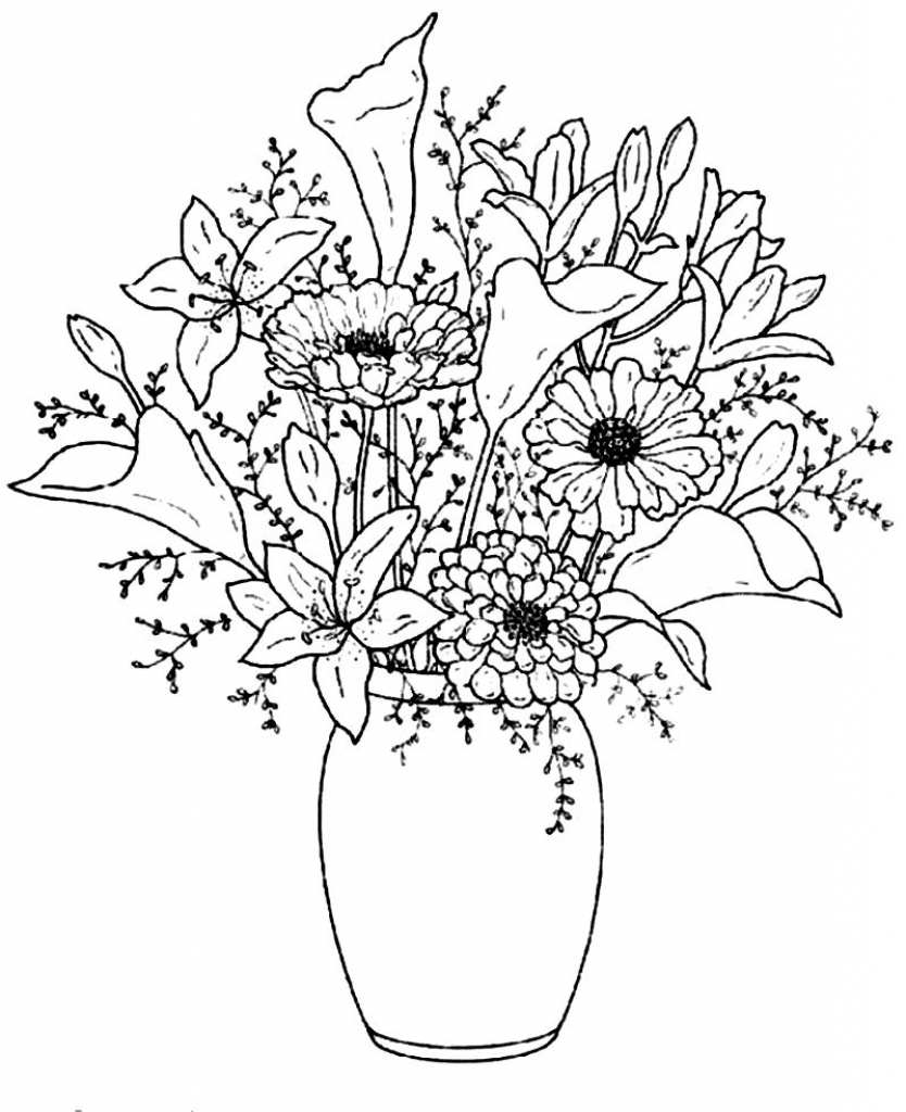 Flowers In A Vase Drawing at GetDrawings.com | Free for personal use on floral to draw, roses to draw, bowl to draw, frame to draw, animals to draw,