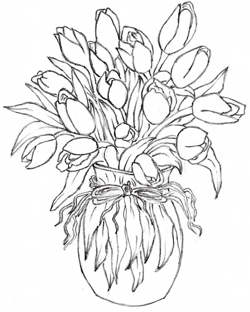 821x1024 How To Draw Flower Vase Gallery