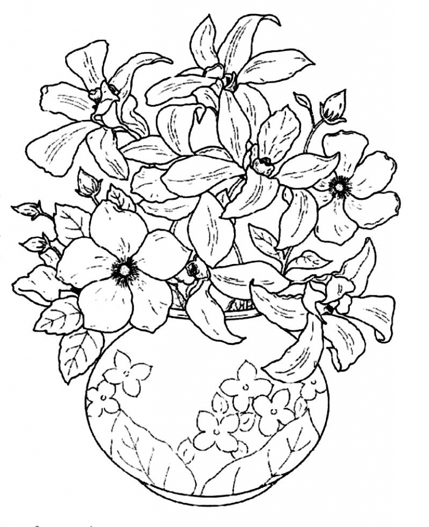 834x1024 Beautiful Flower Vase With Flowers Drawing Sketch Oe Beautiful
