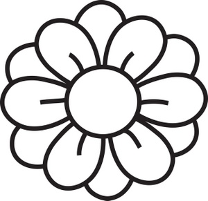 300x291 Clipart Flowers Black And White