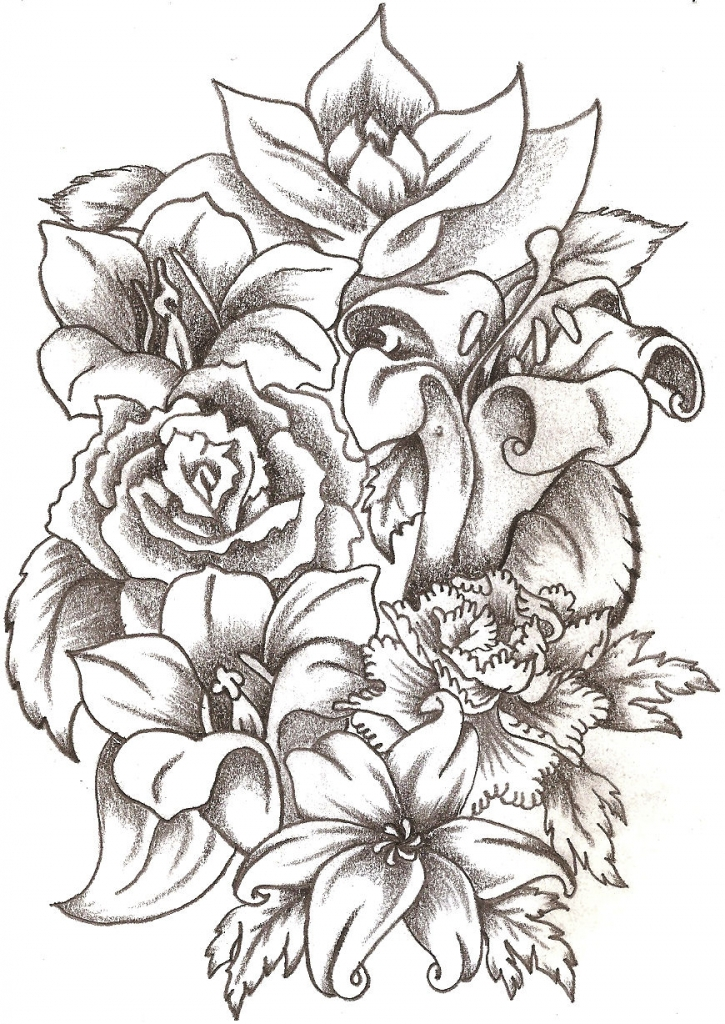 725x1024 Flower Bouquet Drawings Flower Vase Outline Stock Images Royalty
