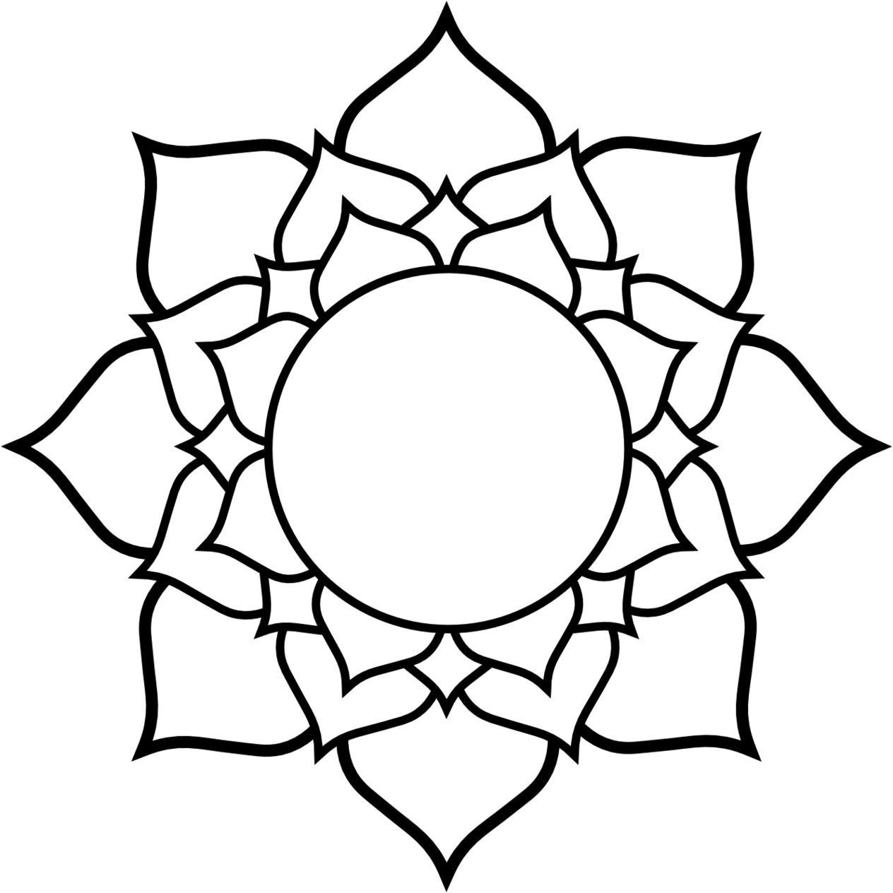 1264x1264 Lotus Clipart Line Drawing
