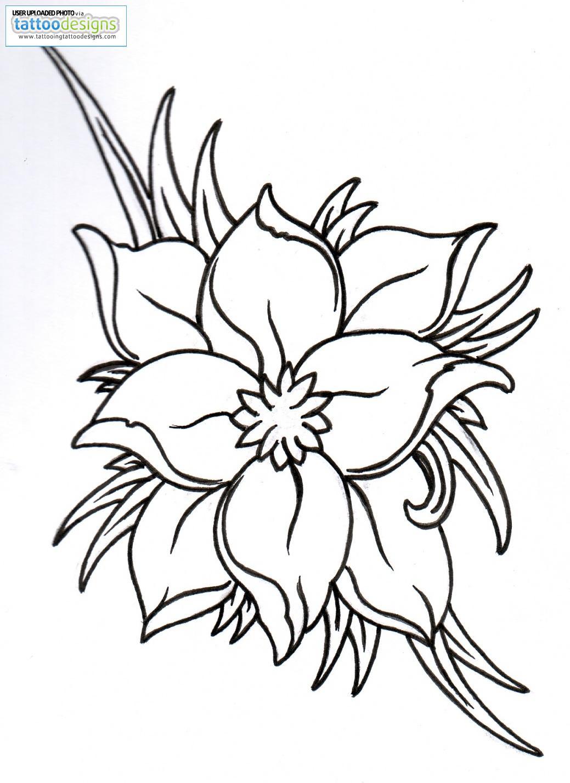 1039x1429 Higher Resolution Fantasy Flower Outline By Vikingtattoo Tattoos