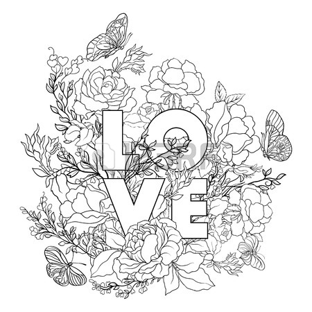 450x450 Rose Flower Background With Space For Text. Outline Drawing