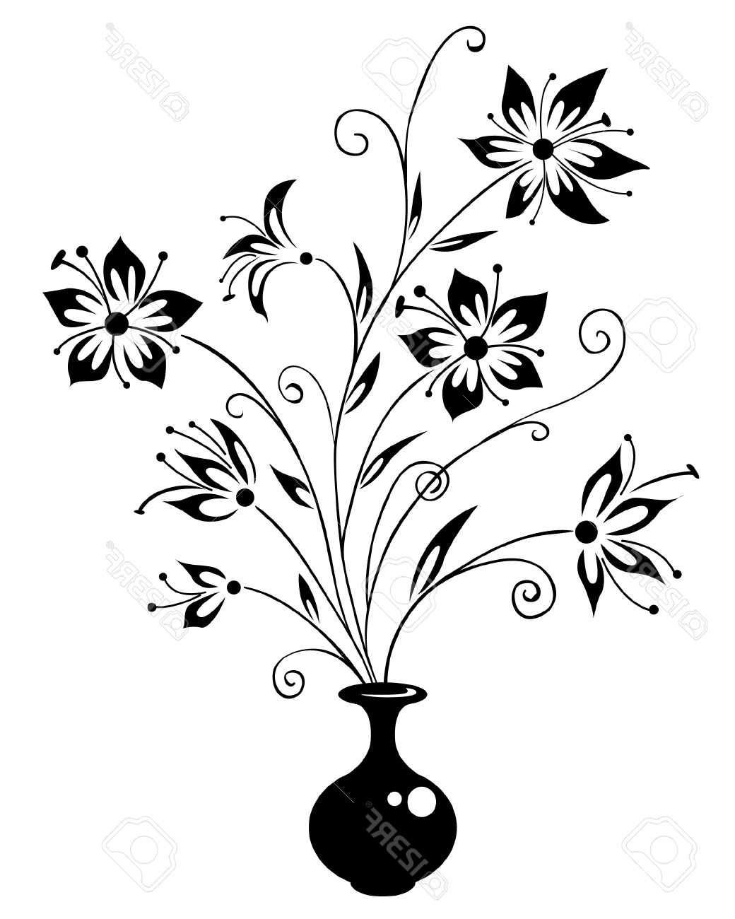 1040x1300 Design Pots With Flowers Drawing Sketches In Hd Images Easy Flower