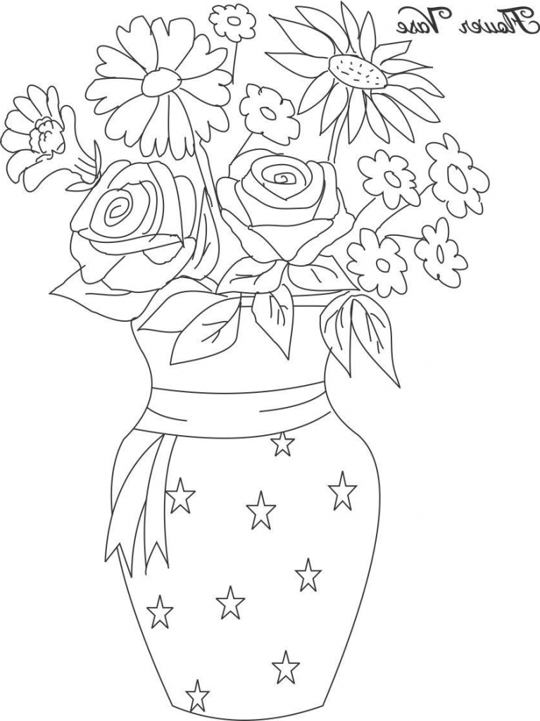 767x1024 Drawing Of Flower Pot Flower Pot Drawing For Kids Step Step