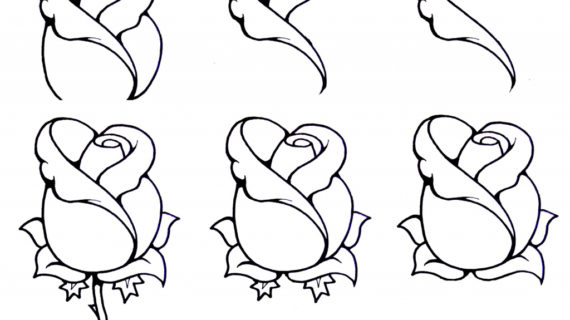 570x320 Simple Rose Drawing Step By Step How To Draw A Rosebud Artworks