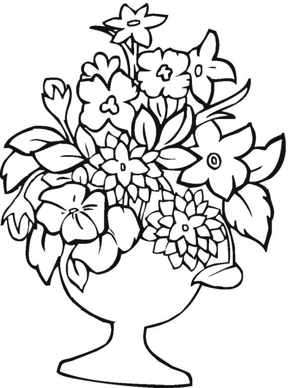 Flowers Vase Drawing
