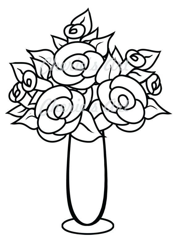 570x798 Flower Vase Clipart Black And White