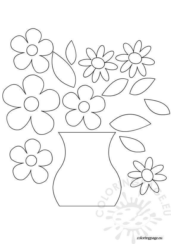 575x822 Flower Vase Template Coloring Page