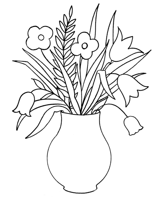 496x637 Flowers Drawing For Kids