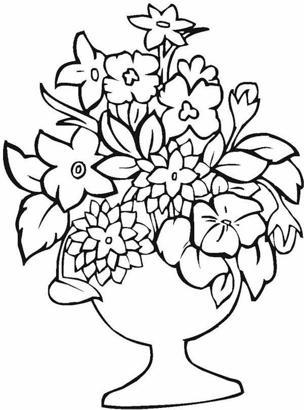 600x808 How To Draw Flower Vase Coloring Page Coloring Sky