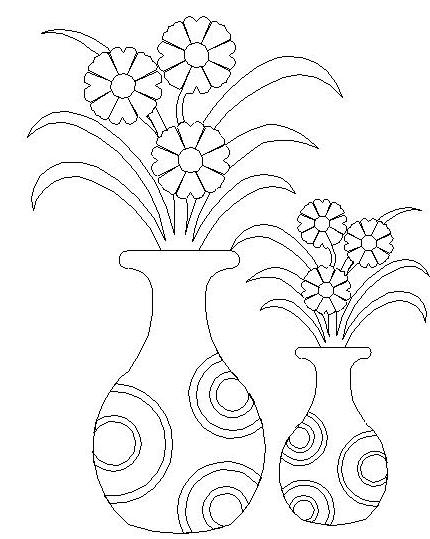 430x539 Simple Flower Vase Drawing