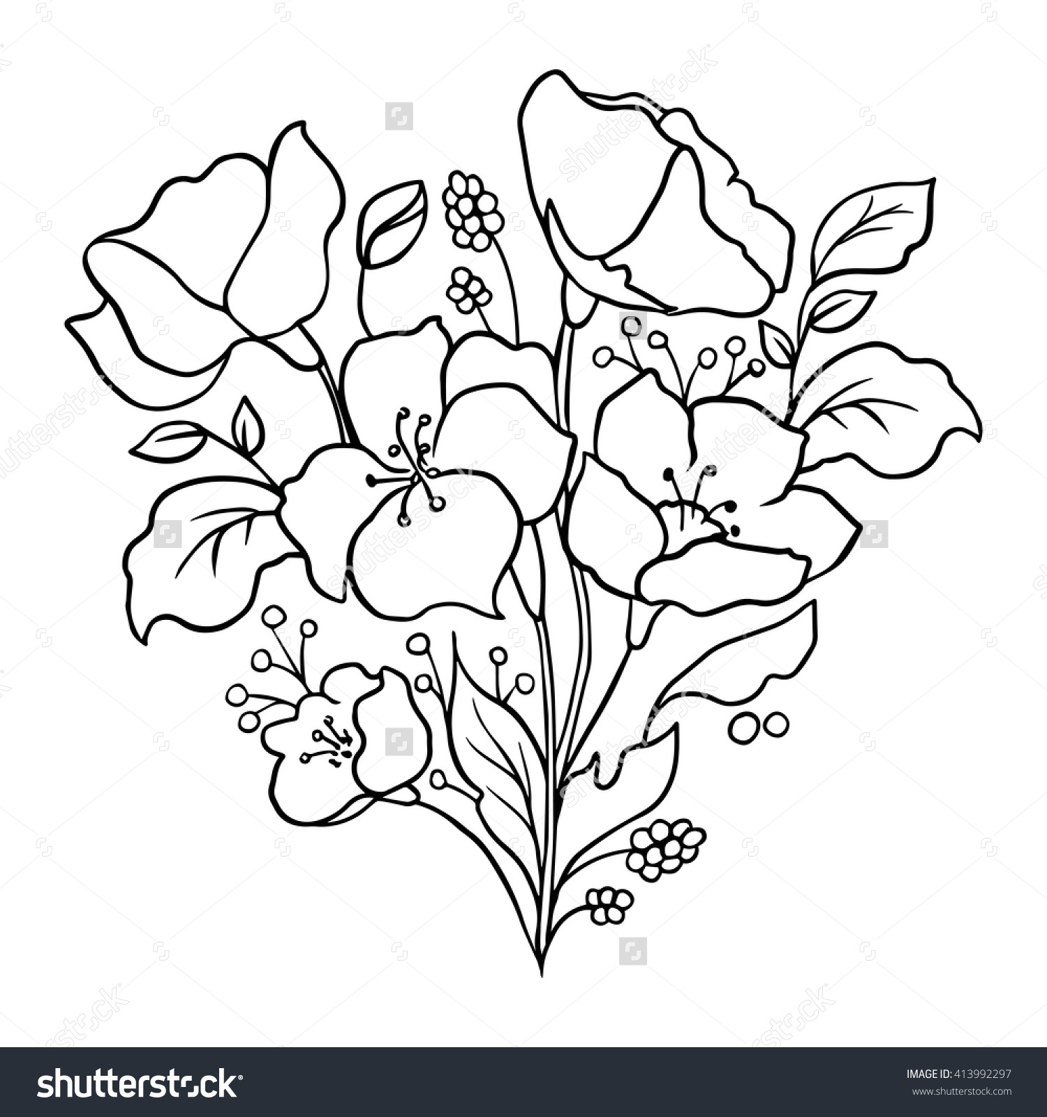 1500x1600 Outline Drawing Of Flowers Floral Outline Silhouette Flowers