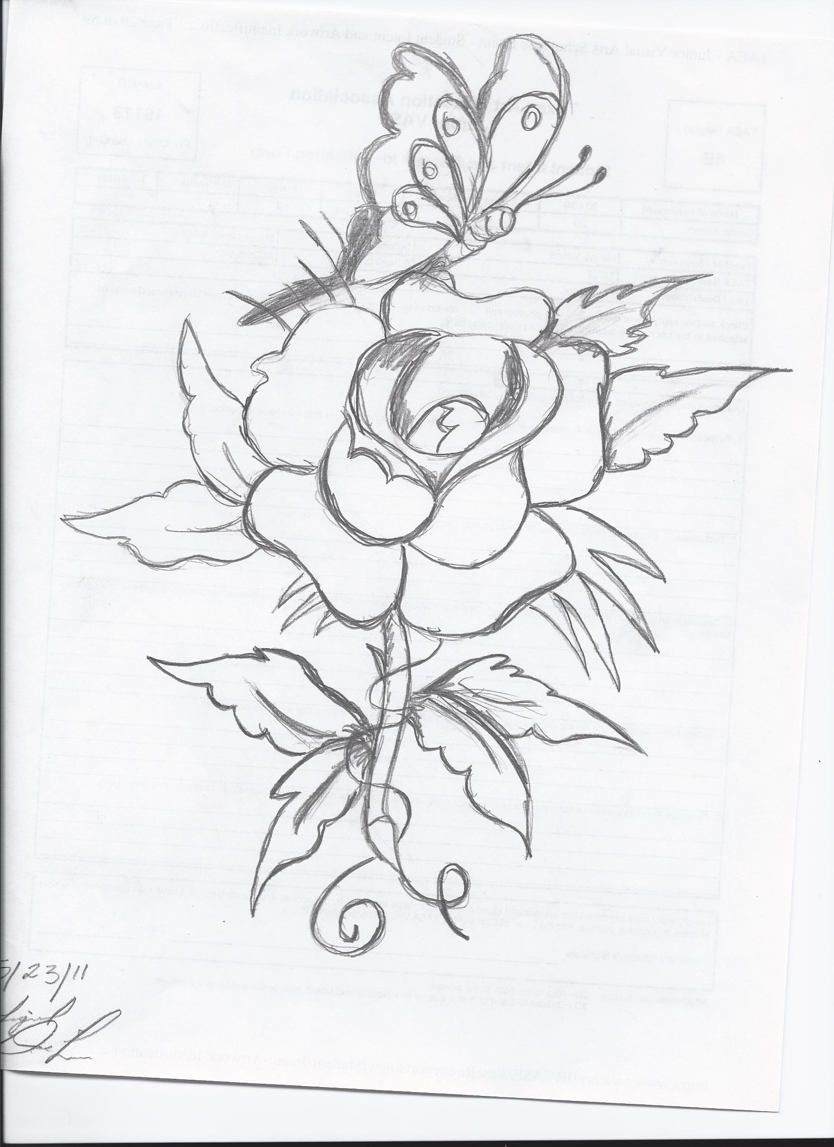 1700x2338 Pencil Drawings Of Flowers And Erflies Step By Step