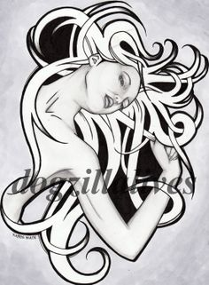 Flowing Hair Drawing