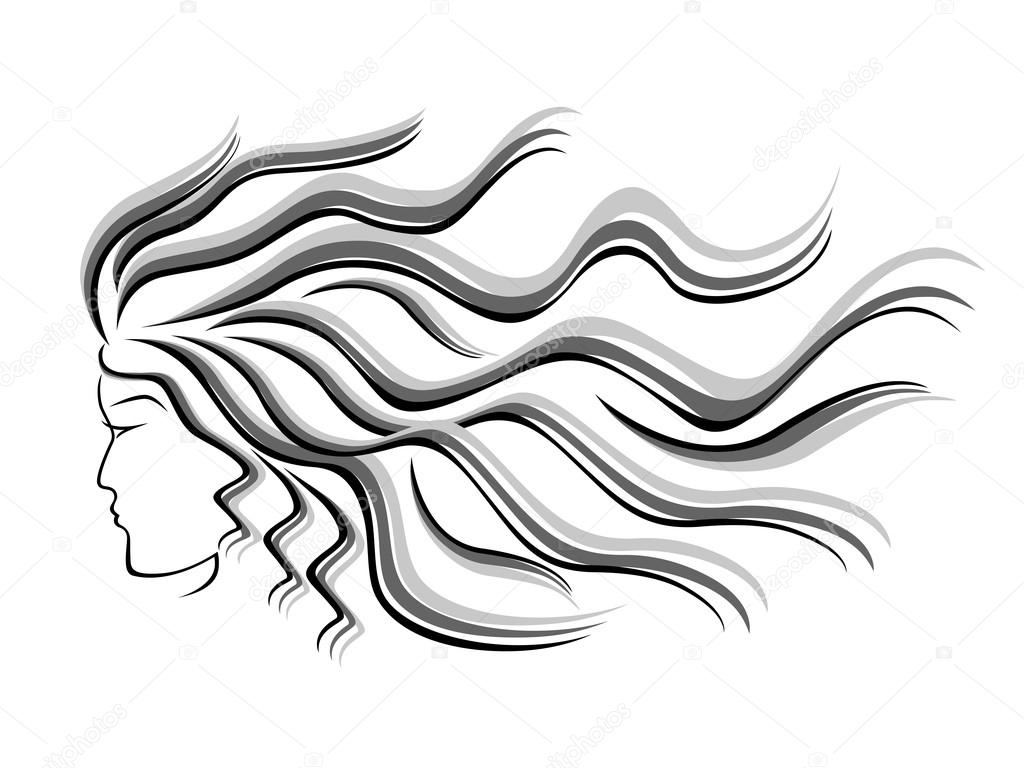 1024x768 Female Silhouette Head With Flowing Hair Stock Vector Natreal