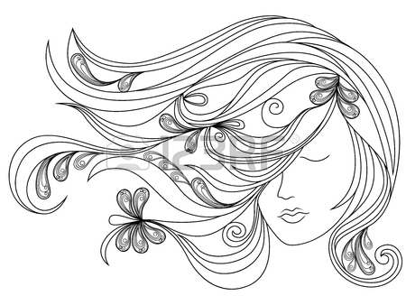 450x338 Abstract Female Head Silhouette With Flowing Hair And Hand, Vector