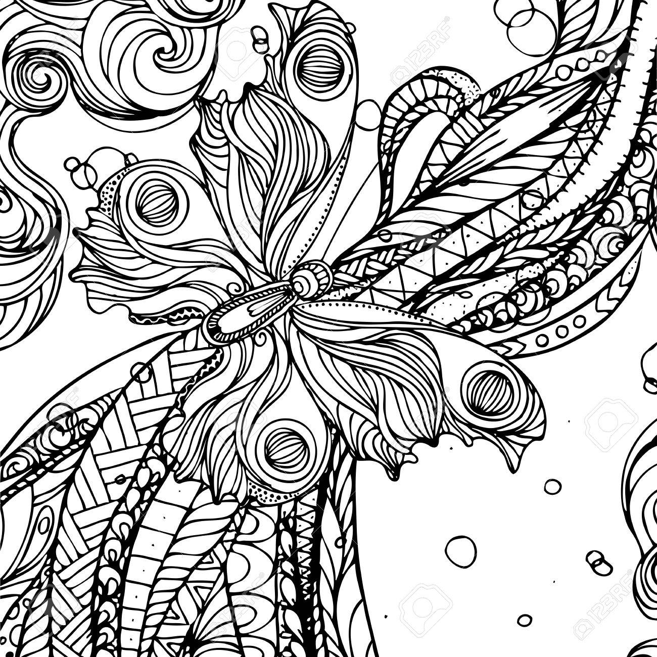 1300x1300 Hand Drawn Ink Doodle Flowing Hair And Butterfly On White