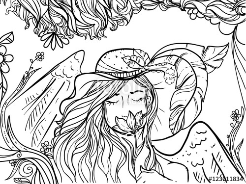 500x375 Hand Drawn Ink Doodle Girls Face And Flowing Hair On White